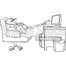 Royalty Free Vector Clip Art Illustration Of A Black And White Man Sleeping At Work Outline