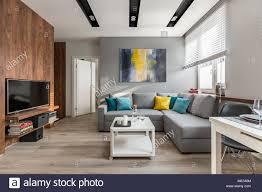 tv wohnzimmer mit holzwänden und große graue sofa