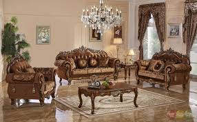 3 Pc Traditional Style Formal Living Room Furniture Brown Sofa Set