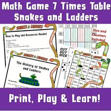 Printable Multiplication Dice Game Kids Board Snakes