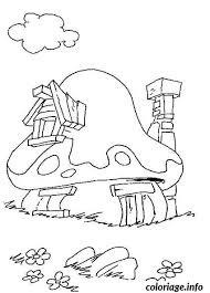 coloriage maison des schtroumpfs dessin