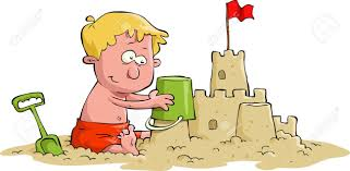 A Boy Builds Sand Castle Stock Vector