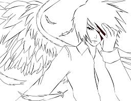Anime Coloring Pages Boy Angel