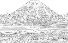 Printable Coloring Page For Adults With Mountain Landscape Lake Flower Meadow Forest Trees Hand Drawn Vector Illustration Freehand Sketch Adult
