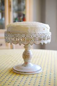 Cake Stand White Metal 10in DIY Candle Stick Plate Lace With Gesso