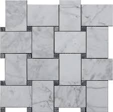 carrara bianco honed 2x3 wide basketweave bardiglio gray dot mosaic