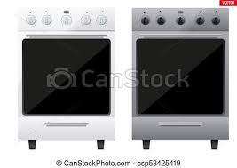 Set Of Classic Kitchen Stove Gas Or Electric Range Cooker Front View Domestic Equipment And Appliance Vector Illustration Isolated On White