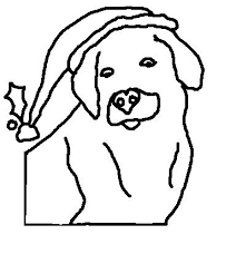 Coloring Pages Of Puppy In Christmas Cap