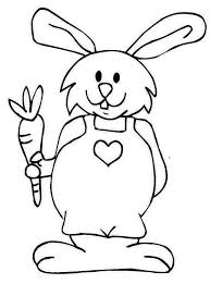 A Bunny In Jumpsuit Holding Carrot Coloring Page
