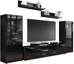 vladon wohnzimmer wohnwand anbauwand schrankwand almada v2 korpus in schwarz matt front in schwarz hochglanz