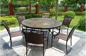 table ronde mosaique fer forge 125 160 table de jardin ronde en mosaïque d ardoise oceane