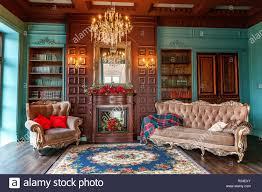 luxus klassisches interieur home bibliothek wohnzimmer mit