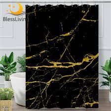 blessliving marmor stein dusche vorhang gold schwarz polyester wasserdichte bad vorhang mit haken trendy abstrakte badezimmer dekor