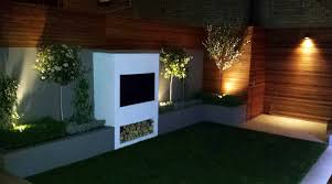 Modern Garden Design Ideas Great Lighting Fireplace Hardwood Screen Plastered Rendered Walls Clapham Battersea South West