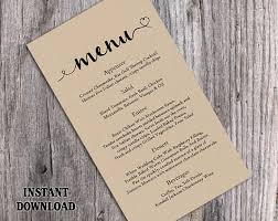 Burlap Wedding Menu Template DIY Card Editable Text Word File Instant Download Rustic Heart Printable