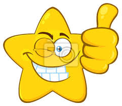 Sticker Smiling Yellow Star Cartoon Emoji Face Character With Wink Expression Giving A Thumb Up
