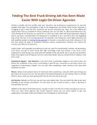 100 Best Truck Driving Companies To Work For Finding The Best Truck Driving Job Has Been Made Easier With Login
