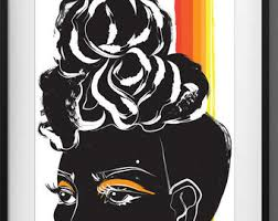 Black Women Wall Art Print Poster Woman Afro Natural Hair African Eyes Orange Red Ethnic Girl