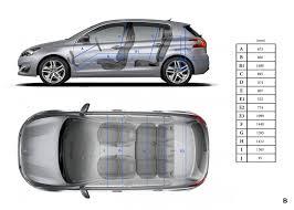 taille coffre nouvelle 308 principales dimensions intérieures mm peugeot 308 ii 2 145