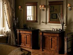 Double Bathroom Vanities Under Framed Mirror And Wall Sconces Also Laminate Floor In Country Rustic Decor These Ideas