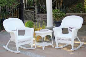 3-Piece Ariel White Resin Wicker Patio Rocker Chairs And Table Furniture  Set - 31556323 Resin Wicker Porch Rockers Easy Care Rocker Charleston Rocking Chair Camel Back Chairs Set Of Two White Summer Outdoor Belwood With Floral Cushions 3pc Cushion And End Table Faux Book Pocket Coral Coast With Khaki The Portside Plantation All Weather Tortuga