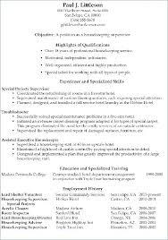 Housekeeper Sample Housekeeping Resume Template Cv