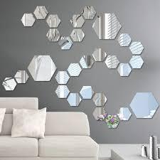 12 teile los diy kunst hexagon wandspiegel aufkleber selbstklebende acryl tapete moderne spiegel wandtattoos für kinder wohnzimmer