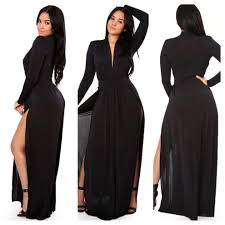 long sleeve black maxi dress with open cut on back