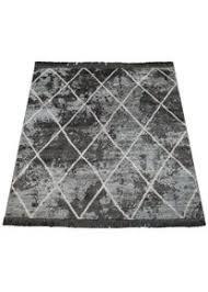 paco home wohnzimmer teppich rauten fransen skandinavisch