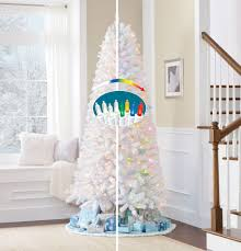 Pre Lit Christmas Tree Rotating Stand by 7 5 U0027 White Flocked Vermont Pine Christmas Tree U2014kmart