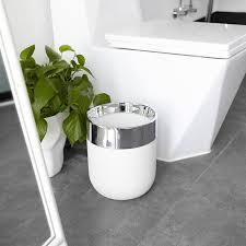 umbra junip badezimmer mülleimer bad mülleimer abfalleimer kosmetikeimer polyresin edelstahl weiß 6 l 1009275 153
