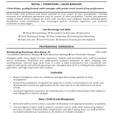 Retail Operation Manager Resume Retail Sales Manager Resume Retail