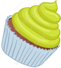 Cupcake With Lime Green Swirled Frosting Cartoon Clipart