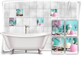 fliesen aufkleber spa wellness kerze vasen muschel lila weiß türkis bad wc deko