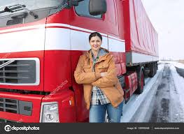 100 Female Truck Driver Driver Near Big Truck Stock Photo Belchonock