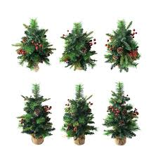Small Artificial Christmas Trees Spruce Tree Isolated Over The White Background Set Of Six Different Stock Photo Lighted