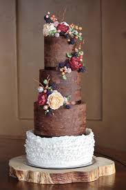 Rustic And Organic Wedding Cake With Chocolate Ganache Ruffles Handmade Sugar Blackberries Hypericum Berries Peonies