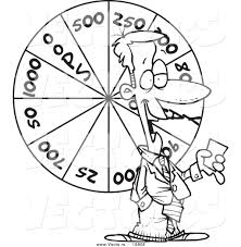 Vector Of A Cartoon Game Show Host With Wheel