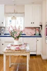 Chic Vintage Style Kitchen With Furniture And Pink Accents
