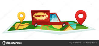 100 Truck Route Map Delivery Traveling Vector Cartoon Illustration