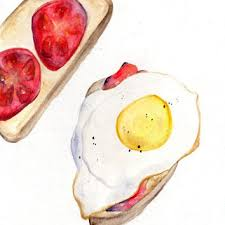 Egg and Tomato Toast Watercolor Painting Kitchen Art Home Decor Food Painting