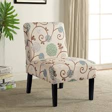 Harper&Bright Designs Fabric Accent Chair Living Room Armless Chair With  Solid Wood Legs (Beige&Floral) 1PC Kincaid Fniture Accent Chairs Exposed Wood Chair Charm Contemporary For Living Room Nicole West Palm Beigewhite Set Of 2 Fabric Ding Tufted Modern Jenny And Ottoman With Bowery Painted For Celine Diy Frame Pretty Burgundywood Cream Park Foam Upholstered Wooden Cozy Coastal Caitlin Marie Design Belleze Roll Arm Linen Bedroom Leg Citrine Yellow