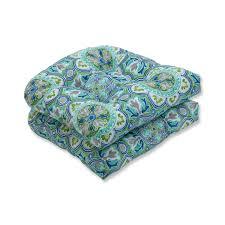Lagoa Tile Pool Wicker Seat Cushion (Set Of 2), Blue, Pillow ...
