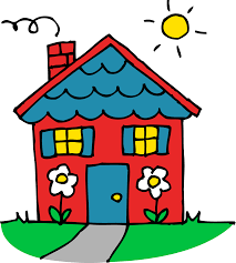 Cute Red And Blue House Clipart