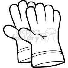 Royalty Free black and white gardening gloves vector clip