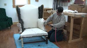 How To Reupholster A Wing Chair Chapter 14 - YouTube Armchair How Much Does It Cost To Reupholster Chair Uplsterhow Chairs Acceptable Upholstered Wingback For Your Ding A Room To Reupholster A Chair Craft An Arm Hgtv Reupholstering French Part 5 Upholstering The How To Reupholster The Arm And Back Of Chair Alo Upholstery Diy Armchairs In Red And Chevron Modest Maven Vintage Blossom Alo Youtube An