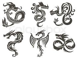Dragon Tattoo White Background Vector Illustration Chinese For The China Silhouette