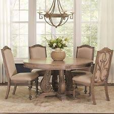 ANTIQUE LINEN FINISH ROUND DINING TABLE CHAIRS ROOM FURNITURE SET SALE
