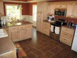 Design With Stylish Natural Maple Kitchen Cabinets And Tile Floor