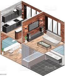 isometrische loftwohnungen mit küche bad wohnzimmer und schlafzimmer stock vektor und mehr bilder architektur